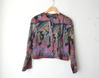 abstract print button down cropped shirt top 80s // S-M