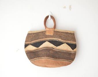 vintage woven and leather sisal shopper market tote shoulder bag