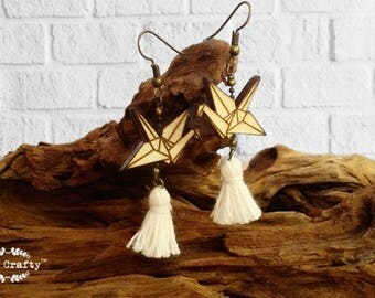 Paper Crane Earring Dangle Wooden Earring Tassle Birthday Wedding Mother's day Gift Best friend Bridesmaid Maid-of-honor Mother of Groom Mom