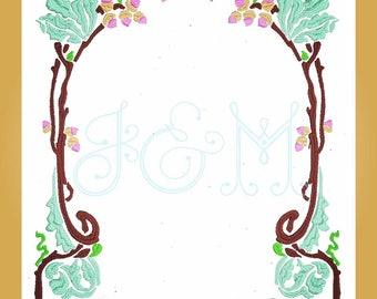 Art Nouveau Floral and Acorn 5x7 Monogram Frame Embroidery Design