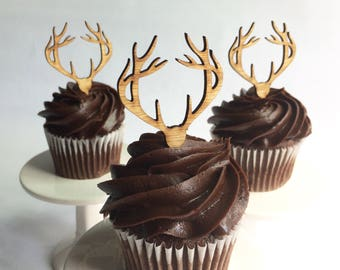 12 Wood Deer Antler Cupcake Toppers