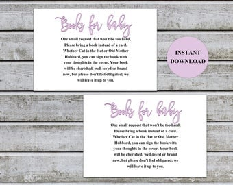 Baby Shower Bring a Book Instead of a Card Book Request Baby Library Printable Baby Shower Invitation Insert Card (v32At) Instant Download
