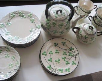 "Vintage Set of ""Clovia"" Shamrock China w/Teapot, Sugar, Creamer, Teacups & Saucers, Luncheon Plates, and Dessert Plates, Basketweave Pattern"