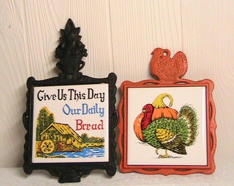 Trivets, Set of Cast Iron Trivets, Turkey, Give Us This Day...