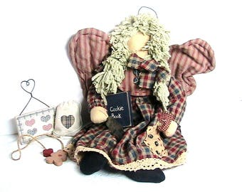 Dolly, Primitive Vintage Rag Doll with Wings, Cookie Book Doll, Angel Rag Doll