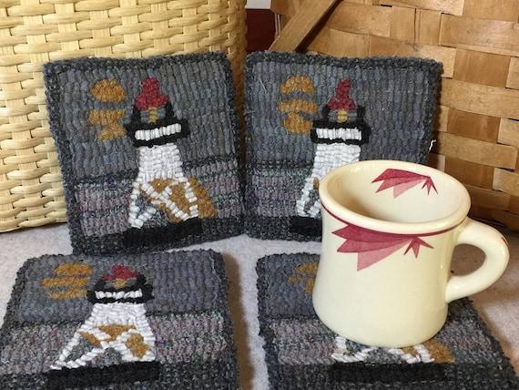 "Rug Hooking Pattern , 4 GM Lighthouse  Mug Rugs 5"" x 5"", P149"