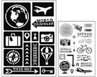 Art-C TRAVEL  Stamp & Adhesive Stencil set bike stamp compass camera stamp balloon stencil world stencil compass stencil 28841 1.cc02