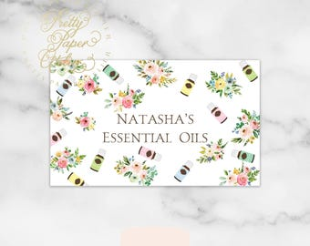 Essential Oils Business Card - essential oil - business brand - logo - floral - pastel - pink watercolor - blush - wellness brand