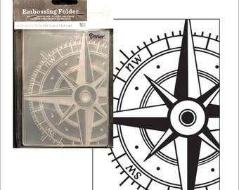 Embossing folder Compass by Darice - Cuttlebug Big Shot & Universal machine compatible card making and scrapbooking