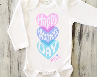 MOTHERS DAY Onesie Baby Girl Happy First Mothers Day Personalized Mothers Day Gift 1st Mothers Day Onesie Baby Girl Mothers Day Onesie