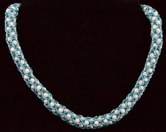Turquoise and White Tubular Netting Necklace