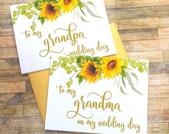 Sunflower to my grandma on my wedding day - card for grandmother - wedding day card for grandparents - to my grandma card  - SUNBEAM