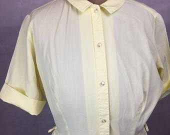 Vintage original 1950s yellow shirt waister dress pinup cotton button down