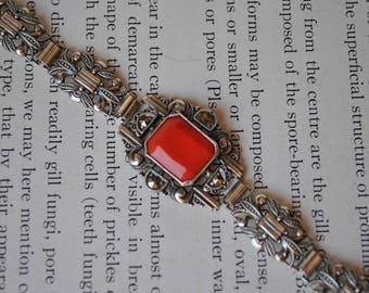 Vintage Sterling Marcasite Bracelet - 1940s Art Deco Sterling Bracelet, Coro Sterling