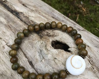 Shiva Eye Mala Bracelet w/ Sandalwood Buddhist Prayer Beads by Bicycling Buddha YC41
