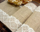 Burlap Table Runner Wedding table runner & ivory lace rustic wedding table linens
