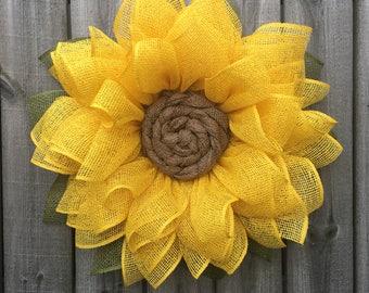 Sunflower Wreath, Burlap Wreath, Sunflower Burlap Wreath, Fall Wreath, Front Door Wreath, Handmade Wreath, Fall Decor, Sunflower Decor