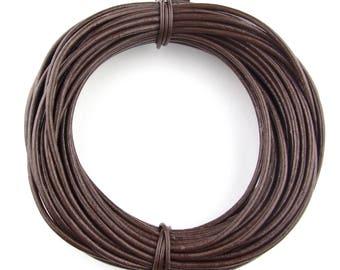 Brown Dark Round Leather Cord 2mm 100 meters (109 yards)