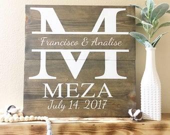 Monogram Wedding Sign / Last Name / Established date / Wedding Gift / Monogram and Last Name Sign