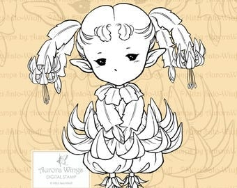 PNG Digital Stamp - Christmas Cactus Sprite - Holiday Zygo Cactus Fae - Fantasy Line Art for Cards & Crafts by Mitzi Sato-Wiuff