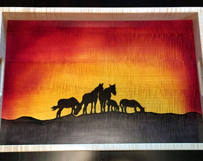 Wood Serving Tray - Wild Horses At Sunset