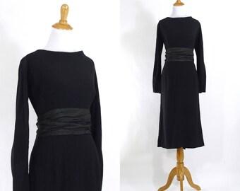 Vintage 1950s Dress | 50s Black Crepe Wiggle Dress with Tuxedo Satin Sash | Large L