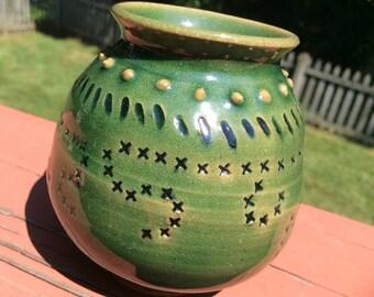 Pottery - Tiny Bud Vase - Green bud vase