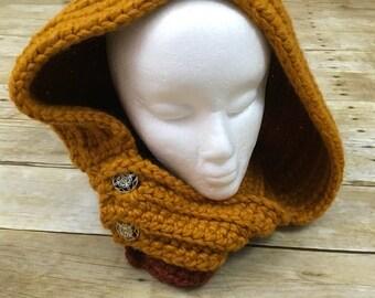 Crochet hooded cowl - crochet hooded scarf - hooded scarf - hooded cowl - crochet scarf - crochet cowl - chunky hooded cowl - women's cowl