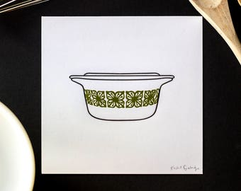 Pyrex Letterpress Print — Verde/Square Flowers