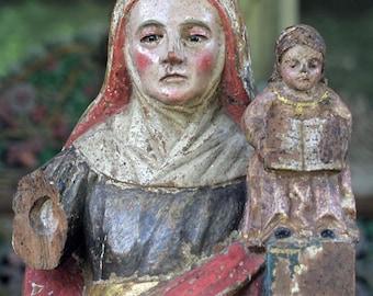 St. Anna with Child Jesus Antique Santos carving, C. 1700