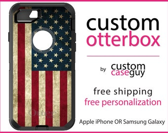 US Flag OtterBox Defender / Apple iPhone OR Samsung Galaxy / Red White & Blue Weathered / Custom Personalized Monogrammed / Any Color