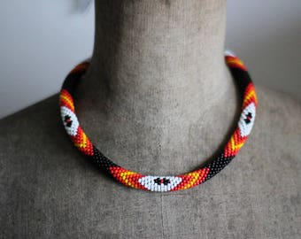 Native American Inspired Multicolor Necklace, Lacota Inspired Beadwork Necklace, Bead Crochet Rope Necklace, Ethnic Necklace MADE TO ORDER
