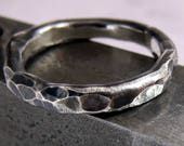 Mens Wedding Ring Classic Hammered Sterling Silver Band 2mm - 3mm Wide