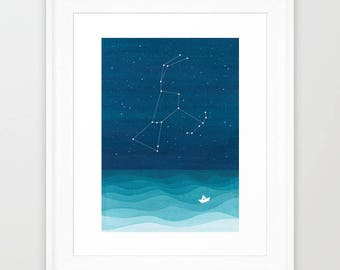 Watercolor painting Orion constellation orion print orion painting giclee print nautical wall decor starry night stars home decor teal art