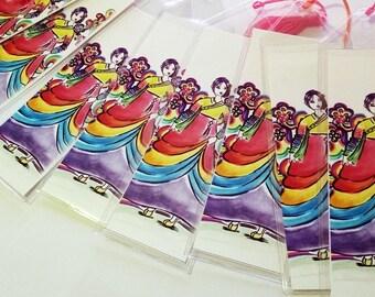 Rainbow Hanbok Bookmark, Bookmark,Hanbok Bookmark, Korean Girl Bookmark, Art Print Bookmark, Rainbow Colored Bookmark, Korean Style Bookmark