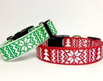 Christmas Classic Winter Dog Collar - Gift - Argyle -