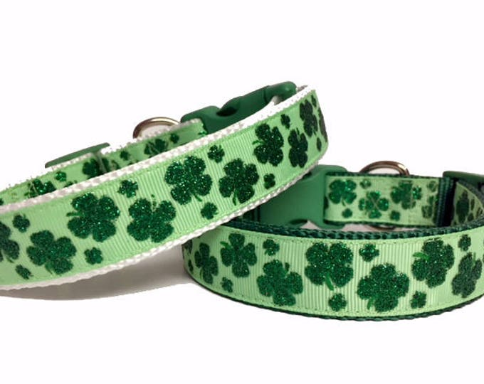 Featured listing image: Clover Leaf St. Patrick's Day Dog Collar, Glitter, Irish, Dog Gift, Pet Gift,