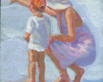 Mama and Me 5.   Original acrylic painting 6 x 8, mother and little boy, impressionism, beach scene  Lucelle Raad Art