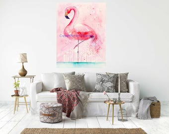 PINK FLAMINGO,  Canvas Wrap Print From My Watercolour Art - Ready to hang