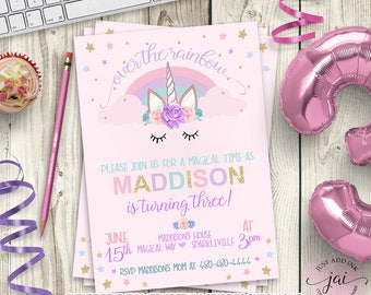 PRINTABLE Unicorn Invitation, Unicorn Party Invitation, Rainbow Birthday Invitation, Unicorn Birthday, Watercolor Unicorn Invite