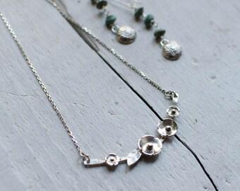 Silver Sterling, romantic, unique, Flower necklace, Choker, bib