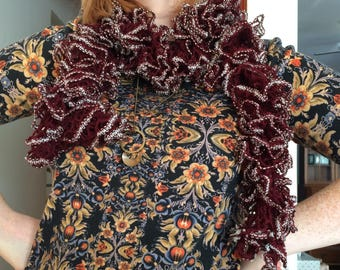 Burgundy Ruffle Fashion Scarf