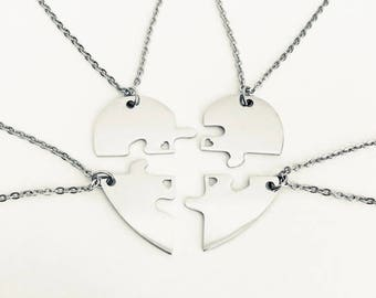 Personalized Stainless Steel Puzzle Necklaces. 4 Puzzle Necklace Set. Best Friend Necklaces. Sister Necklaces. Friendship Necklaces.