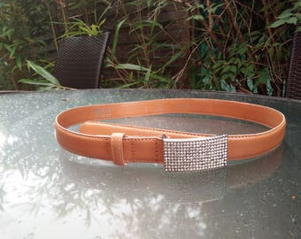 Original vintage Authentic ABACO  FRANCE PARIS genunie leather belt with crystal clasp button woman women style