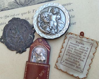 Lot 4pcs antique reliquary St Christophe St Rita St Theresa magnatic Siol  in fabric bag From Under the First Coffin 1910