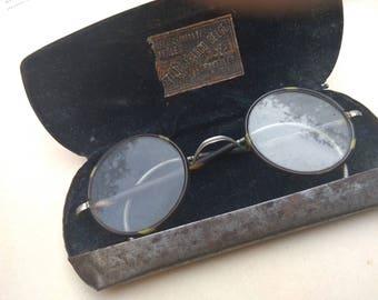 antique glasses round glass metal frame antique glasses in original metal box