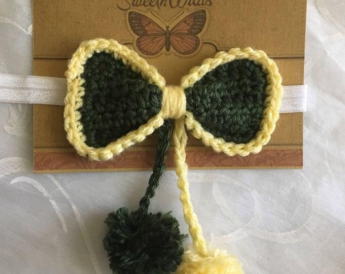 Bow Dangles-Headband Bow Pom Pom-Baby Headband-READY TO SHIP-Crocheted Bows-Girls Hair clips-Green and Yellow