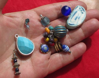 Lot Of Retro Salvaged Blue Pendants Beaded Dangles