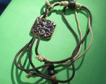 Retro Brown & Tan Rope Adjustable Length Necklace