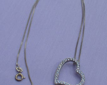 Vintage Rhinestone Heart Neckace Marked 925 Italy